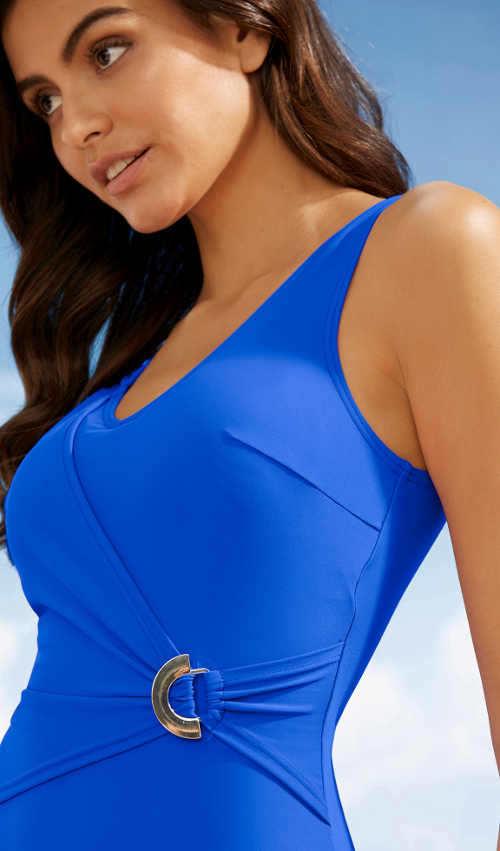 Modré dámske jednodielne plavky so sťahovacím zavinutím