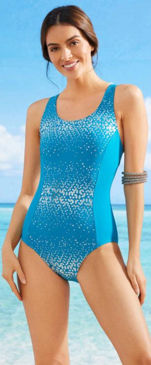 Dámske jednodielne plavky so striebornou potlačou