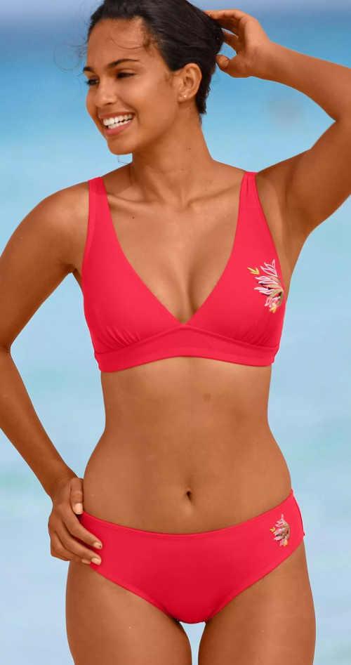 Červené dámske dvojdielne plavky pre silnejšie postavy vyprodej