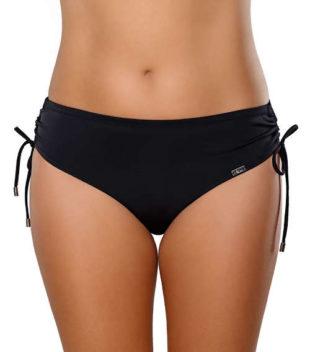 Čierne dámske plavkové nohavičky so sťahovacími šnúrkami na bokoch