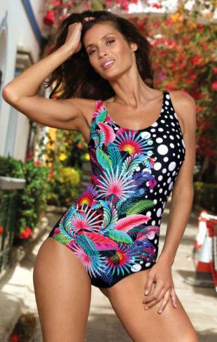 Exotické dámske jednodielne plavky pre plnšie tvary