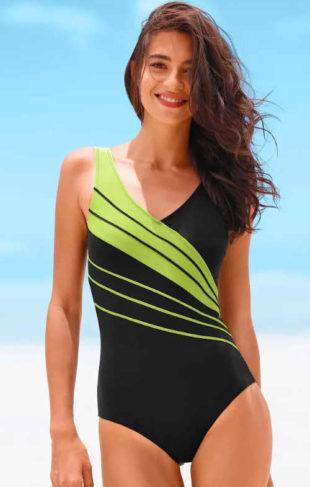 Jednodielne dámske plavky nadmerných veľkostí s ozdobnými prúžkami
