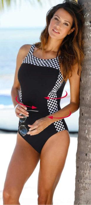 Tvarujúci jednodielne čierno-biele dámske plavky pre plnoštíhle