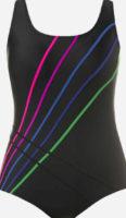 Jednodielne čierne plavky zdobené farebnými prúžkami