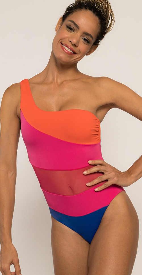 Moderné jednodielne plavky neónové farby