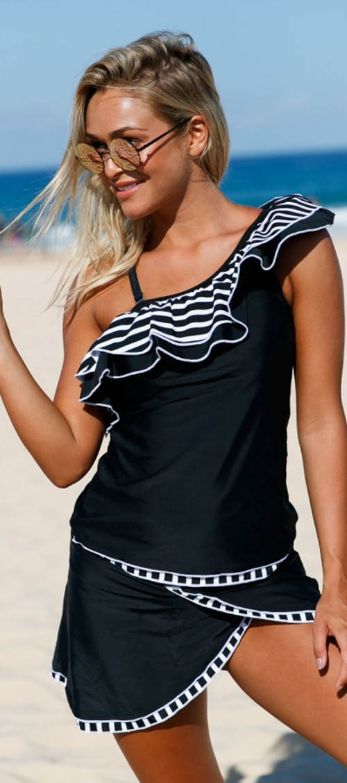 Dámske plavky so zavinovacie sukňou