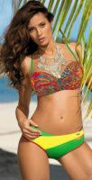Pestrofarebné dámske bardot plavky