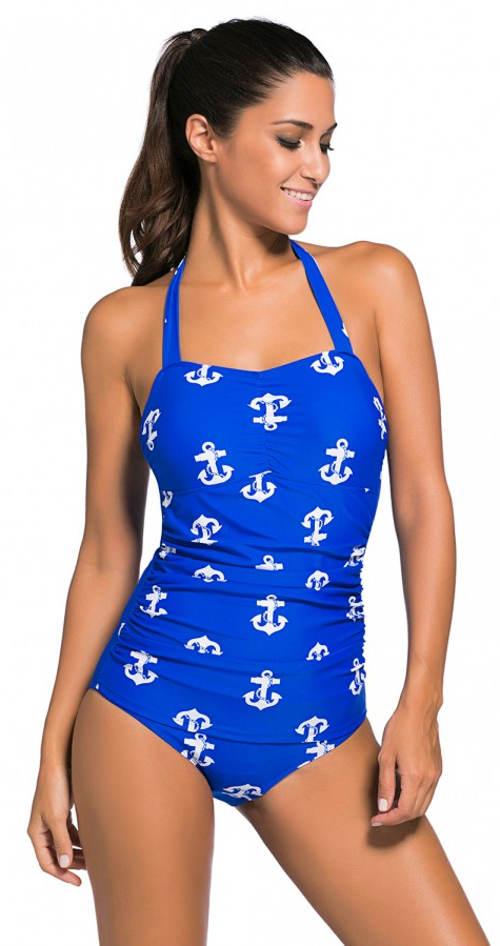 Žiarivo modré námornícke plavky pre plnoštíhle