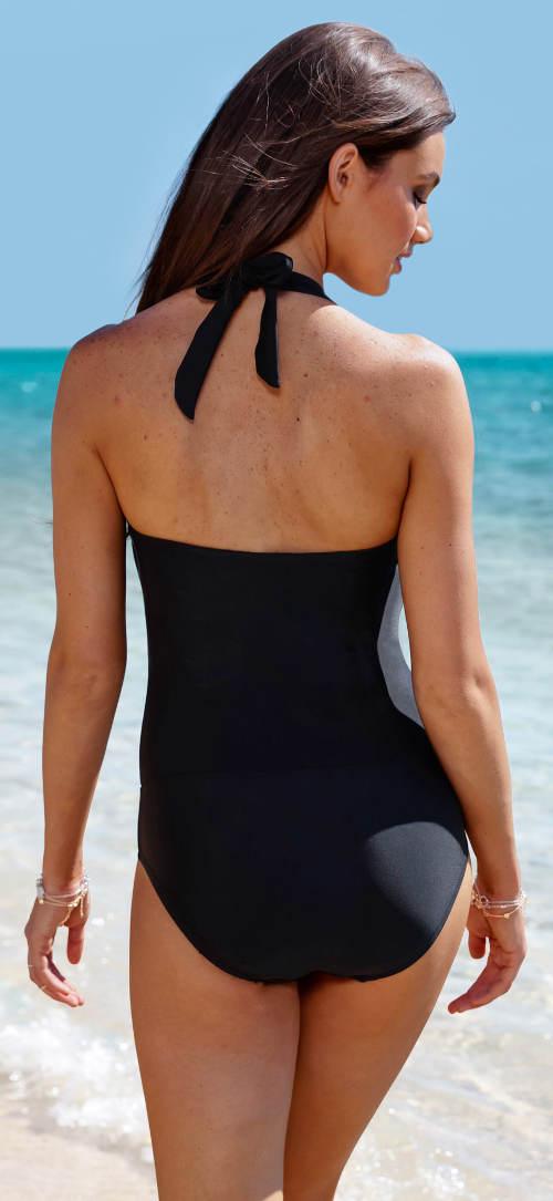 Čierne dámske jednodielne plavky s ramienkami za krk