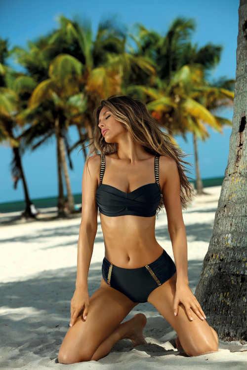 Dvojdielne moderné dámske plavky v čiernej a zlatej farbe