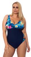 Modré jednodielne plavky pre väčšie poprsie