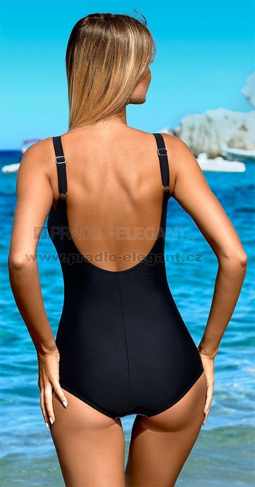 Čierne jednodielne plavky pre bacuľaté dievčatá