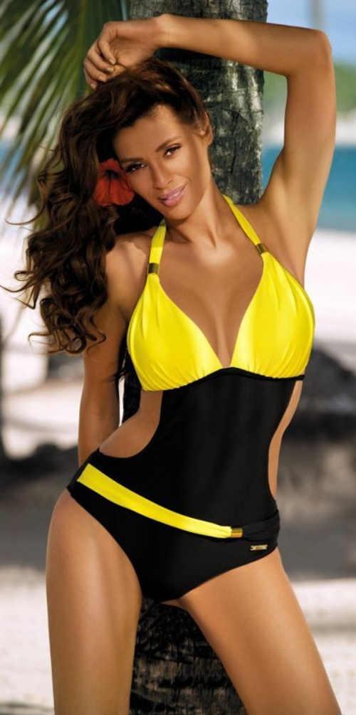 Čierno-žlté jednodielne plavky so zaväzovaním za krkom