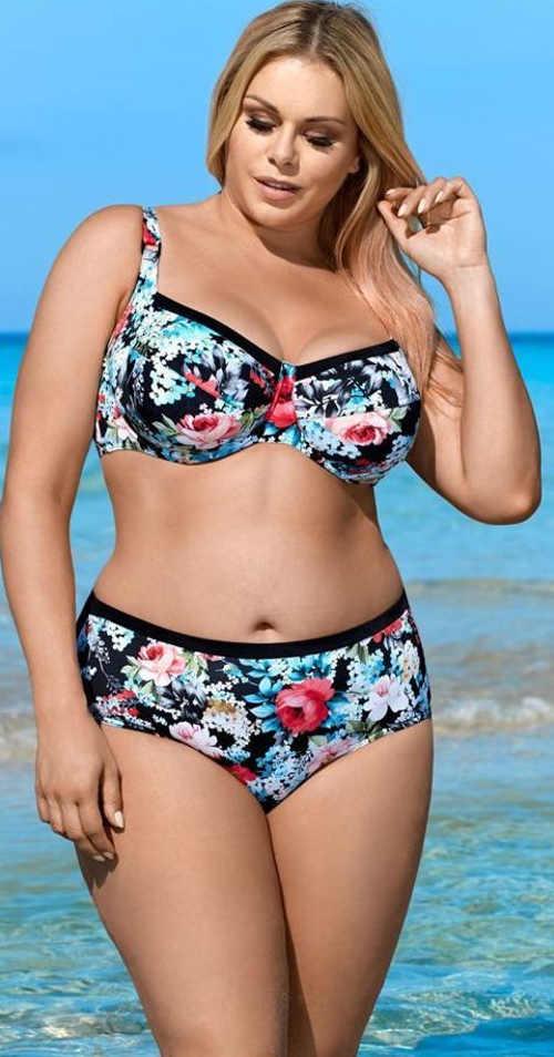 Kvetinové dvojdielne plavky Lorin pre bacuľaté dievčatá