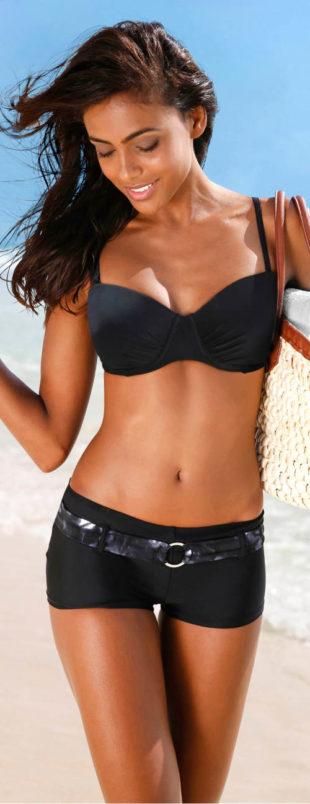 Dámske plavky elastické šortky s ozdobným pásom