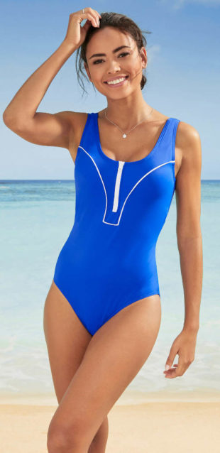 Športové jednodielne plavky s výstrihom na zips